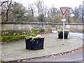 NZ0562 : Planters at the northern end of Bywell Bridge by Oliver Dixon