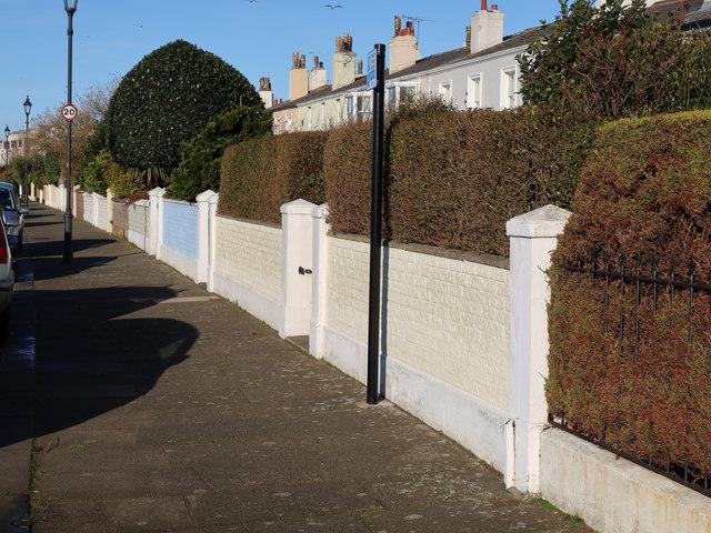 Garden walls in Marine Crescent, Crosby