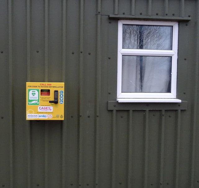 Defibrillator on Village Hall, Skeffling