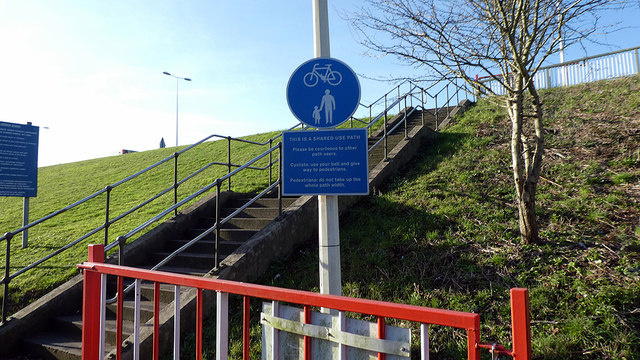 Steps up to the Humber bridge path (east side)