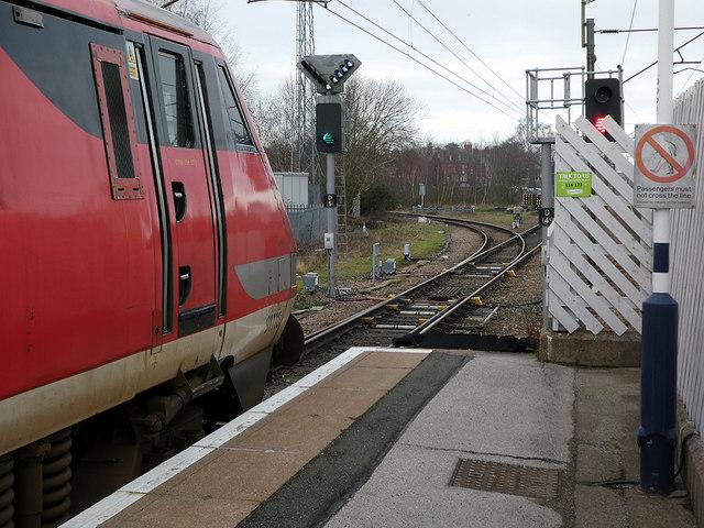 At the end of the platform at Retford high-level station