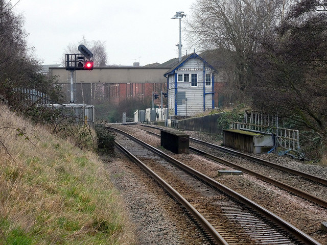 Retford Thrumpton signal box viewed from the low-level station