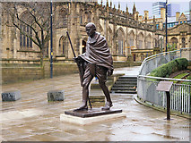 SJ8398 : Gandhi Statue outside Manchester Cathedral by David Dixon