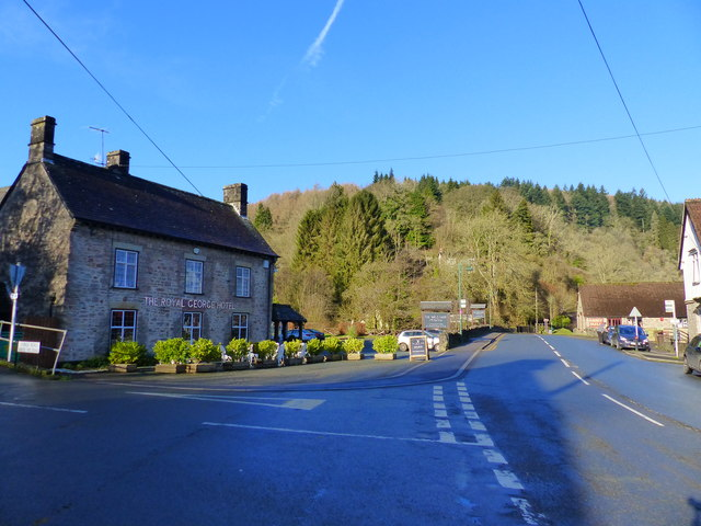 Road junction by the Royal George Hotel, Tintern