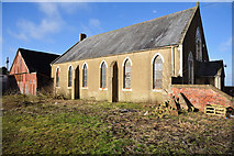 NZ3034 : Corrugated building and chapel at Cornforth by Trevor Littlewood