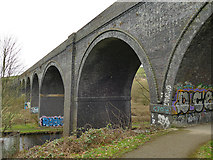 SE1719 : Disused railway viaduct near Bradley - central span by Stephen Craven
