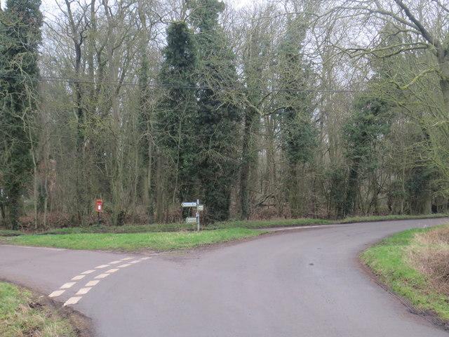 Road junction near Meesden