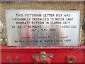 TQ0499 : Inscription on former Post Box in Sarratt by David Hillas