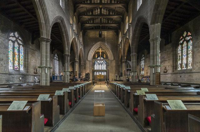 Interior, St Mary & All Saints' church, Chesterfield