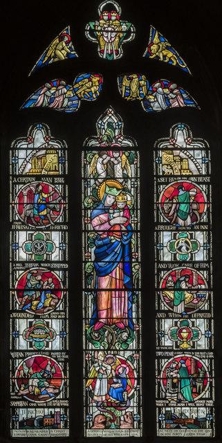 Good Samaritan window, St Mary & All Saints' church, Chesterfield