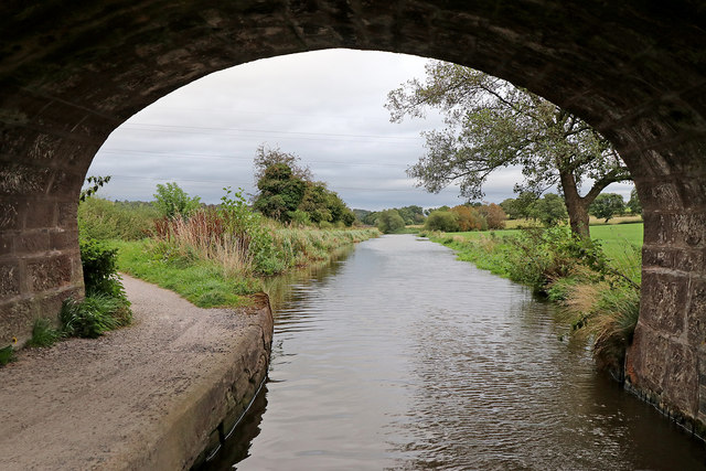 Caldon Canal east of Endon Bank in Staffordshire