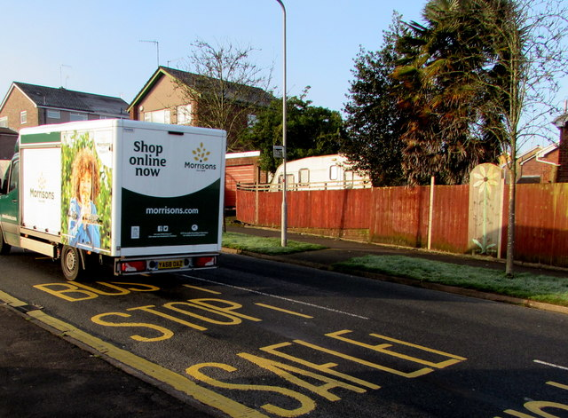 Morrisons home delivery van ascending Rowan Way, Malpas, Newport