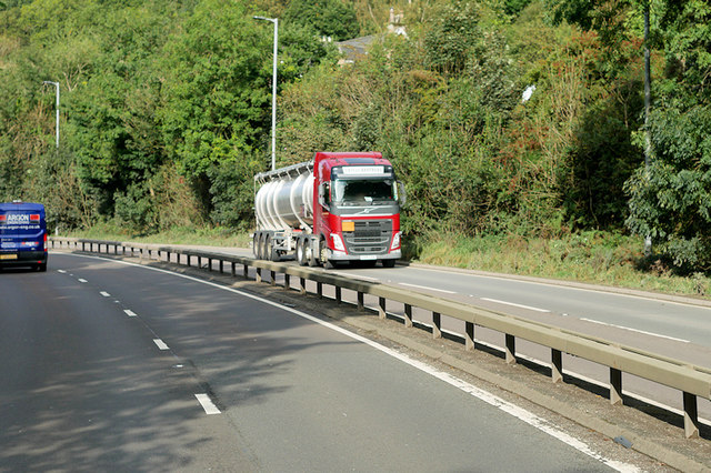 Tanker on the Great Western Road (A82 at Bowling)