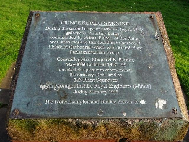 Plaque on Prince Rupert's Mound