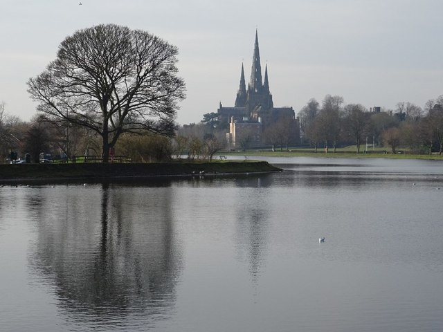 View over Stowe Pool to Lichfield Cathedral