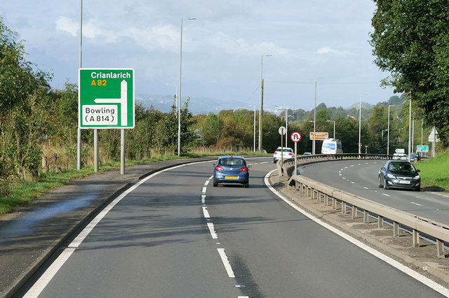 A82, Great Western Road, near to Bowling