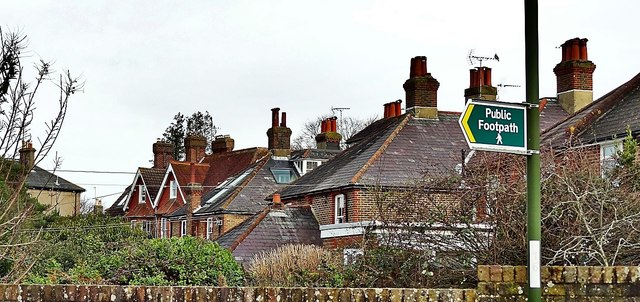 Henfield, Sussex - rear view of houses on Broomfields Road