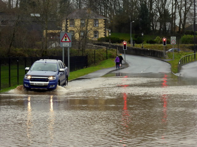 Making it through the flood on Irishtown Road, Omagh
