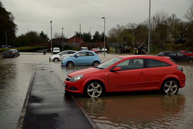 Flooding at Crevenagh Park & Ride car park, Omagh