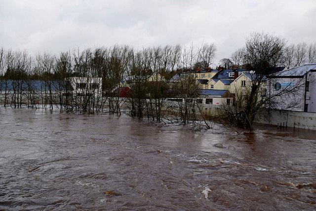 Flooded banks along the Drumragh River, Omagh