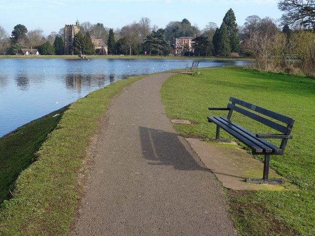 Path and seat beside Stowe Pool