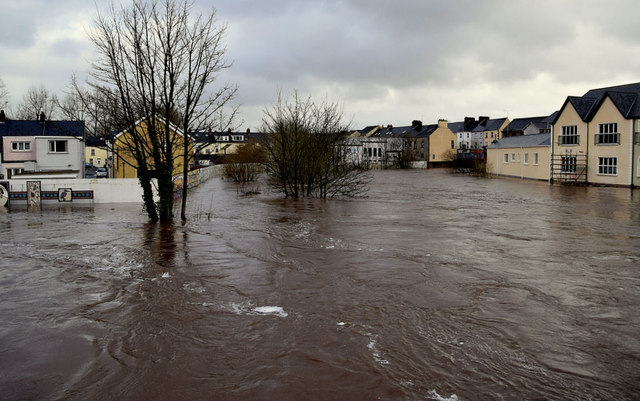 Flooded banks along the three rivers at Campsie, Omagh