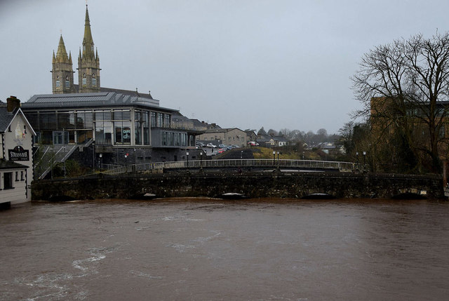High water level at Bells Bridge, Omagh