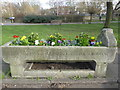 TQ2176 : Former horse drinking trough at Barnes Pond by Marathon