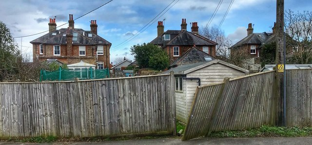 Henfield, Sussex - rear view of houses on Broomfield Road