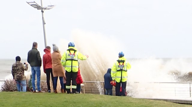 Members of Newcastle's H.M.Coastguard S&R Team on duty during Storm Ciara