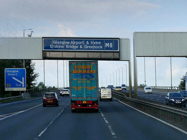 Sign Gantry over the M8 at Arkleston Interchange