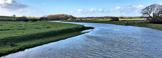 River Adur - view upstream from the Downs Link bridge