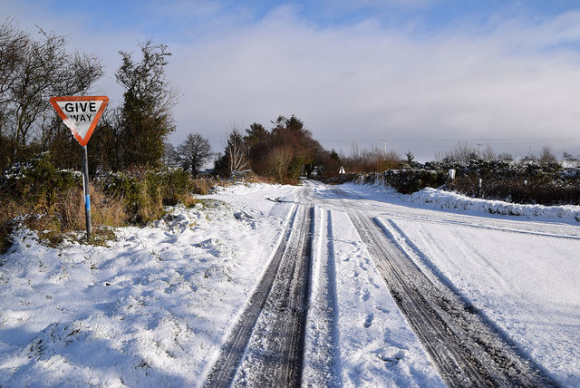 Tracks in the snow on Garvaghy Road