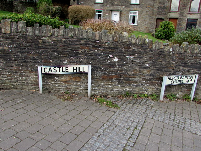 Castle Hill name sign alongside a stone wall, Gelligaer