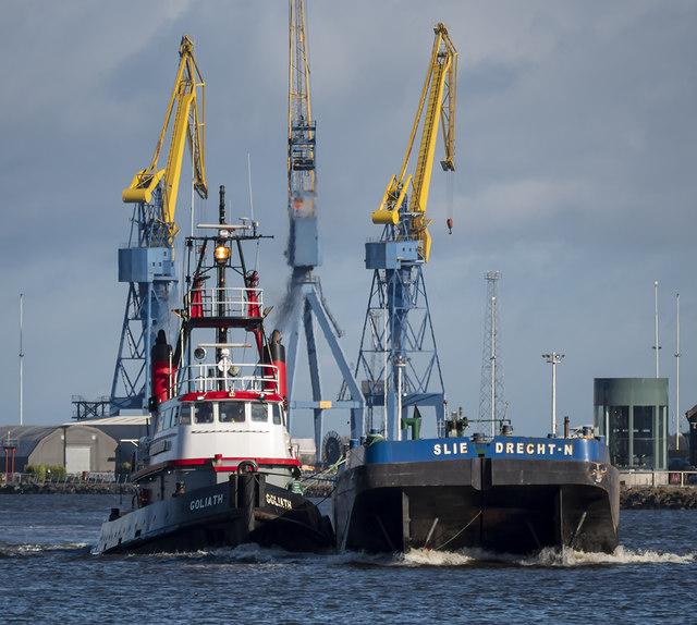 Tug 'Goliath' and barge, Belfast