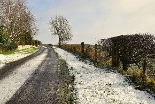 Snow along Meenmore Road