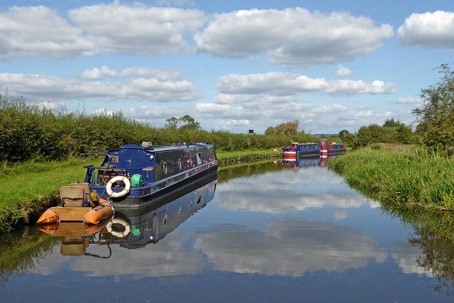 Moored narrowboats near Gailey, Staffordshire