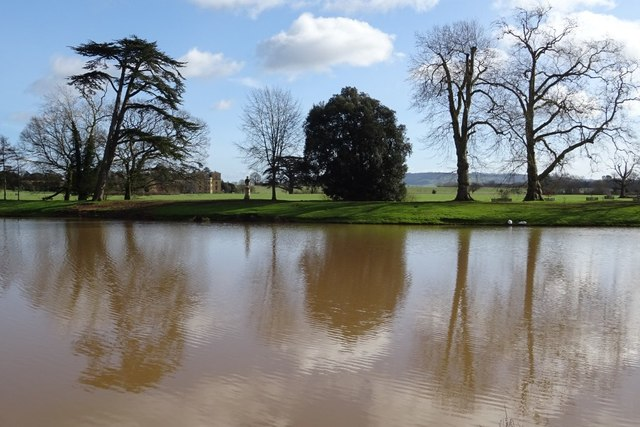Trees reflected in the lake in Croome Park
