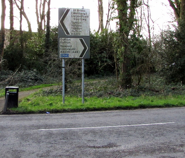 B4239 direction signs, Duffryn, Newport