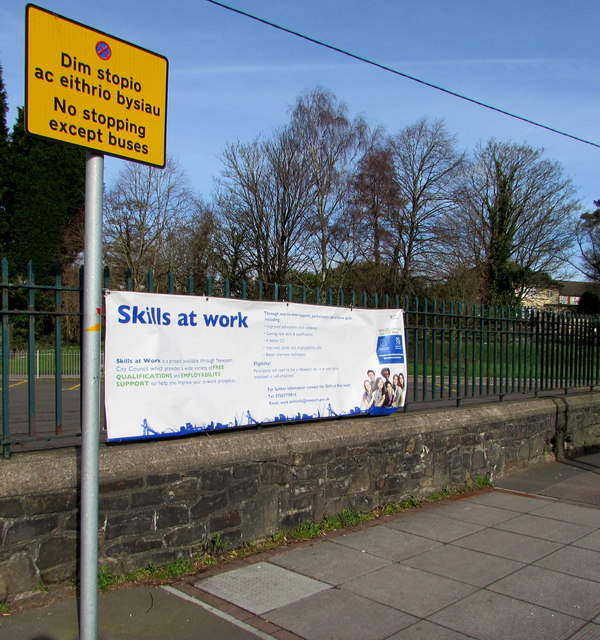 Skills at Work banner on railings at the edge of Tredegar Park, Newport
