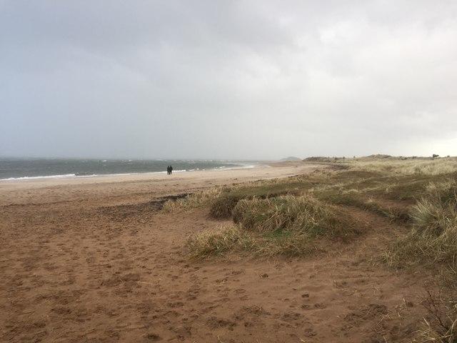 Yellowcraig beach in a gale