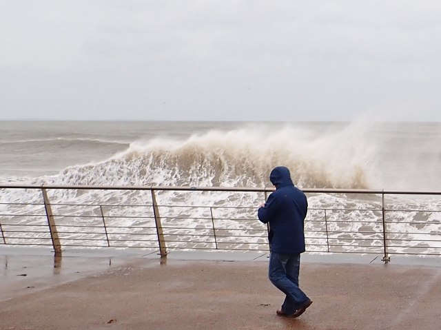 Breaking wave on the Central Promenade at Newcastle