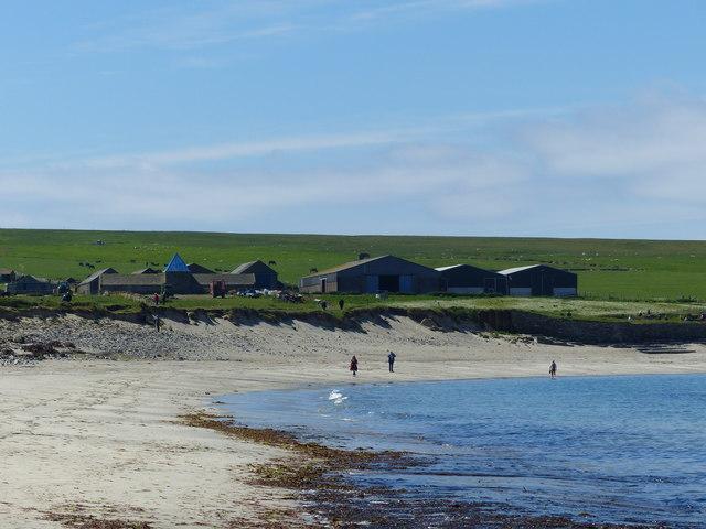 Skaill Home Farm from Skaill Bay beach, Orkney