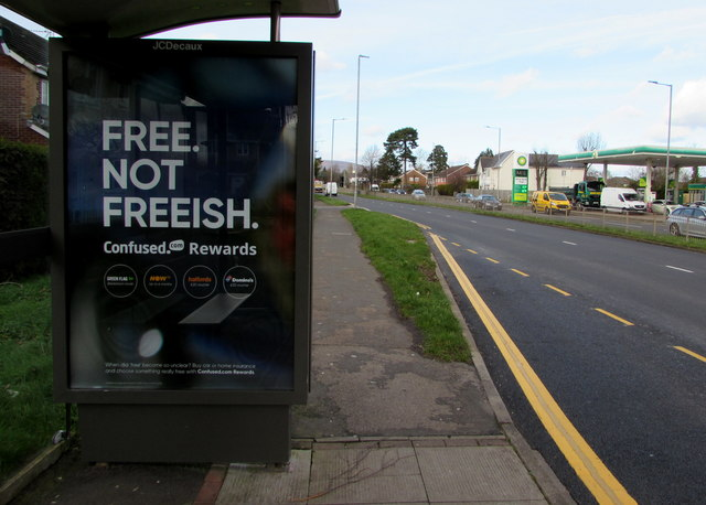 Free not freeish advert on a Malpas Road bus shelter, Newport