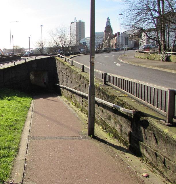 Path descending to an underpass beneath the B4591, Newport city centre