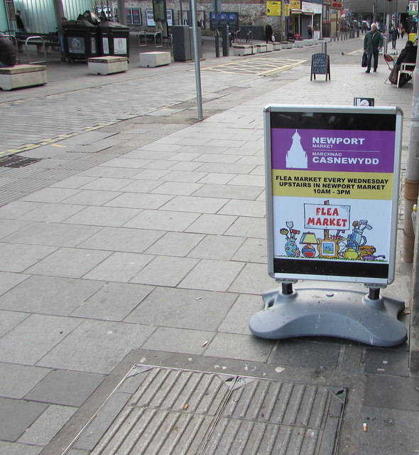 Flea Market board on the Upper Dock Street pavement, Newport