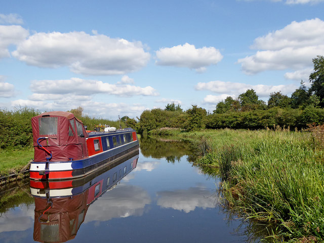Moored narrowboat near Gailey, Staffordshire