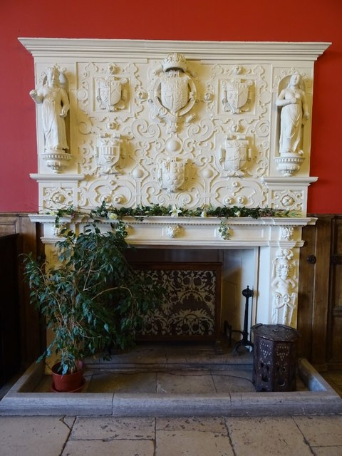 Fireplace and mantel in the Great Hall
