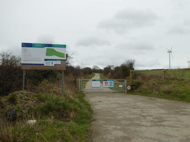 The entrance to Bear's Down Wind Farm