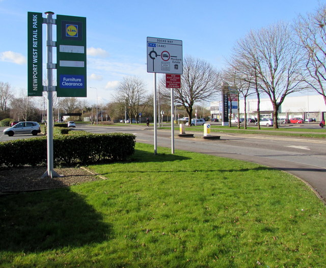 Newport West Retail Park nameboard